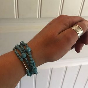 Jewelry - Sterling silver turquoise triple strand bracelet